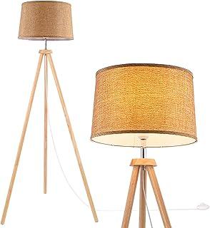 WUDSEE Lampadaire Trépied 150cm Lampadaire Trepied Bois de Style Scandinave avec Abat-jour en Tissu Fabric pour Salon Cham...
