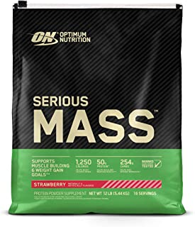 Optimum Nutrition Serious Mass Weight Gainer Protein Powder, Vitamin C, Zinc and Vitamin D for Immune Support, Strawberry,...