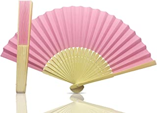 Vruti's Pink Paper Foldable Hand Held Bamboo and Wooden Fan
