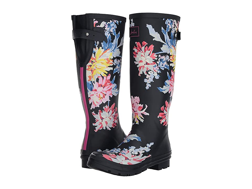Joules Tall Welly Print (Navy Whitstable Floral Rubber) Women