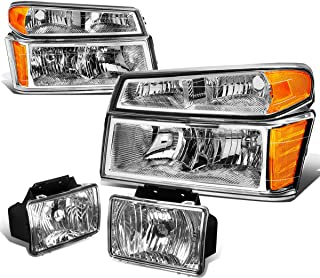 For Colorado/Canyon Pair of Chrome Housing Amber Corner Headlights+Clear Lens Fog Lights