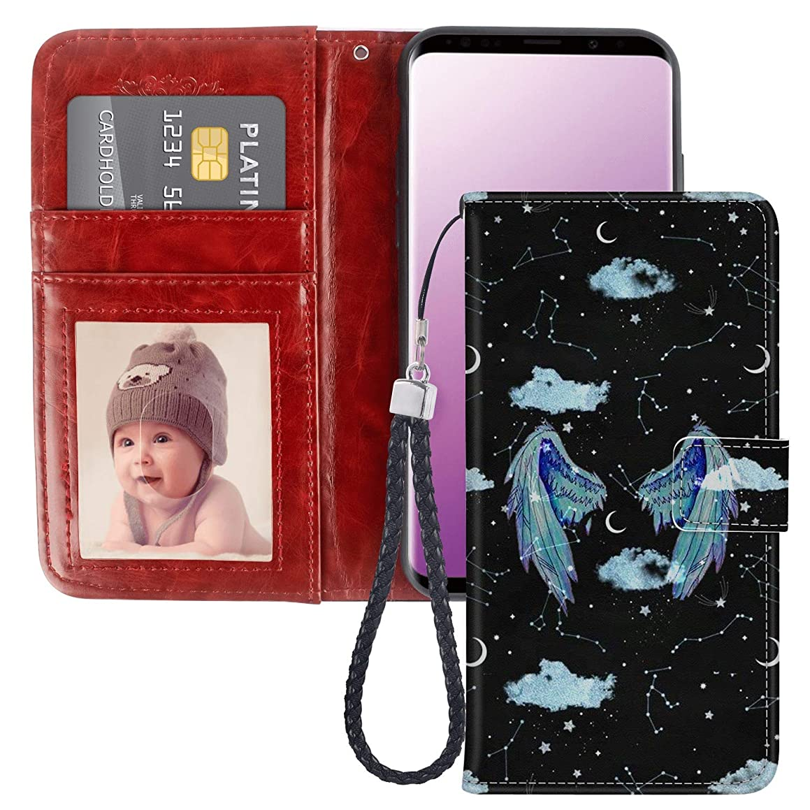 Angel Feather Wings Samsung Galaxy S9 Plus Wallet Case for Kickstand PU Leather Card Slot Magnetic Flip Wristlet Phone Cover Samsung Galaxy S9 Plus Case Angel Feather Wings