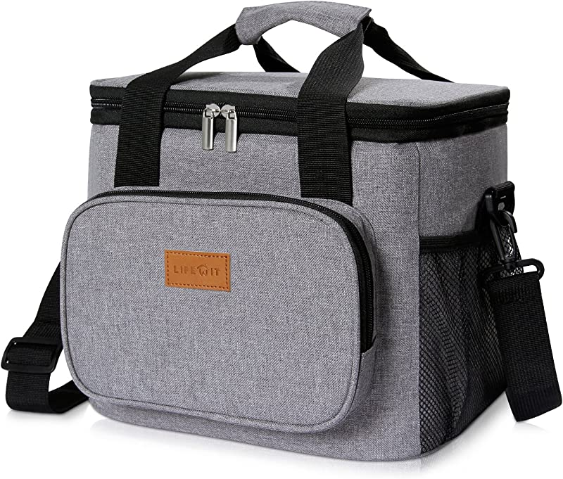 Lifewit Large Lunch Bag Insulated Lunch Box Soft Cooler Cooling Tote For Adult Men Women 24 Can 15L Grey