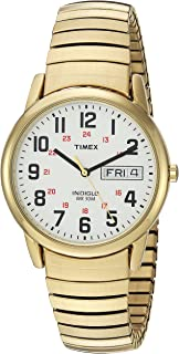 Timex Men's T2N092 Easy Reader Gold-Tone Extra-Long Stainless Steel Expansion Band Watch
