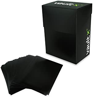Vault X Deck Box and 100 Black Card Sleeves – Medium Size for 70-80 Sleeved Cards..
