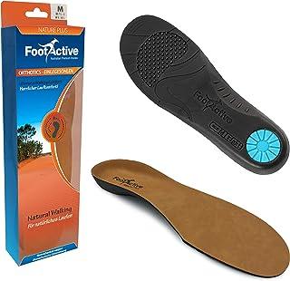 FootActive NATURE PLUS - una suela de soporte con arco de longitud normal con cubierta de piel superior para aliviar los dolores del talón y la Fascitis plantar.