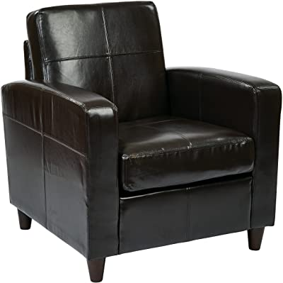 AVE SIX Bonded Leather Venus Club Chair with Solid Wood Legs, Espresso