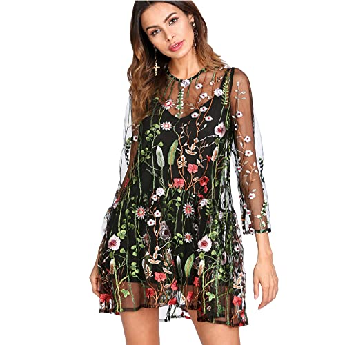 33ce8bfdc5 Verdusa Women s Floral Embroidered 3 4 Flounce Sleeve Dress