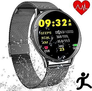 Deportes Smart Wristband Bracelet Impermeable - Reloj Inteligente con Corriendo Pulsómetro Cronómetro Monitor de Sueño Podómetro Control Música Camara, Pulsera Fitness Tracker Hombre Mujer Estudiante