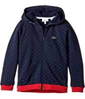 Lacoste Kids - Long Sleeve Full Zip Small Dot Fleece Hoodie (Toddler/Little Kids/Big Kids)