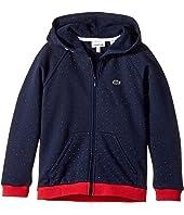 Lacoste Kids Long Sleeve Full Zip Small Dot Fleece Hoodie (Toddler/Little Kids/Big Kids)