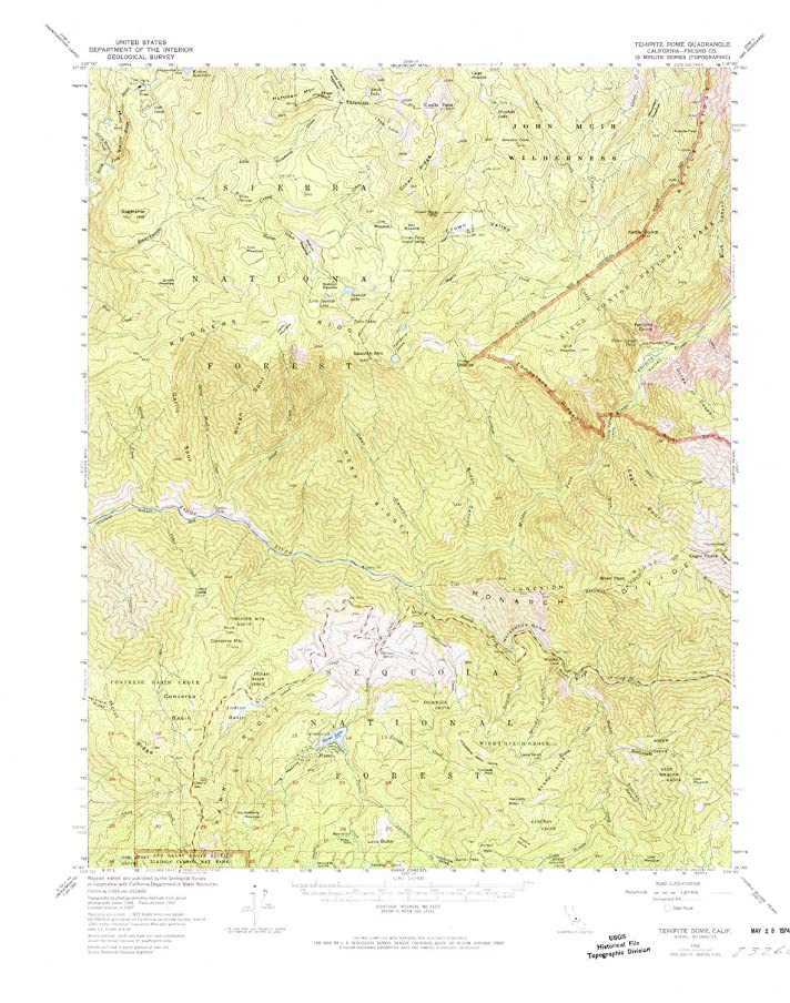 YellowMaps Tehipite Dome CA topo map, 1:62500 Scale, 15 X 15 Minute, Historical, 1952, Updated 1974, 21.9 x 17.3 in