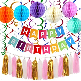 Rainify Birthday Party Decorations Colorful Happy Birthday Banner Colorful Honeycomb Ball Hanging Swirl Paper Tassel for Fiesta Party Mexican Carnival Kids Family Rainbow Birthday Party Supplies