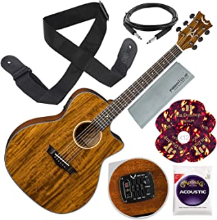 Dean AXS Exotic Cutaway Acoustic-Electric Guitar, Koa Top with Guitar Strap and Accessory Bundle