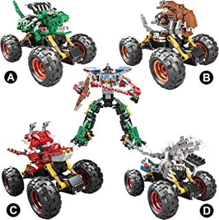 LUYE Dinosaur Car Building Bricks Kit Set, 517pcs 4 Models Dinosaur Off Road Vehicle Building Blocks Set Toys for Kids Boys Girls Man Gifts