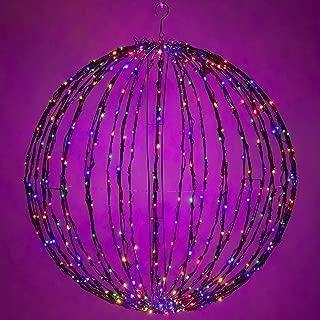 Wintergreen Lighting LED Light Ball – Indoor/Outdoor Christmas Light Balls, Light Spheres Outdoor/Sphere Light Fold Flat Metal Frame (16