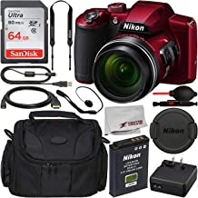 $319 Get Nikon COOLPIX B600 Digital Camera (Red) 26528 with Starter Accessory Bundle – Includes: SanDisk Ultra 64GB SDXC Memory Card + Carrying Case (Medium) + Micro HDMI to HDMI Cable (A-D) + More