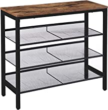 HOOBRO Industrial Shoe Rack, 4-Tier Shoe Shelf, Storage Organizer Unit with 3 Mesh Shelves, Wood Look Accent Furniture wit...