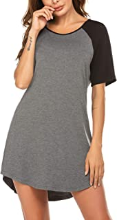 Ekouaer Women's Nightshirts Viscose Chemises Slip Long Nightgown Sleepwear S-XXL
