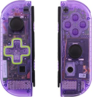 eXtremeRate Clear Atomic Purple Joycon Handheld Controller Housing (D-Pad Version) with Full Set Buttons, DIY Replacement ...