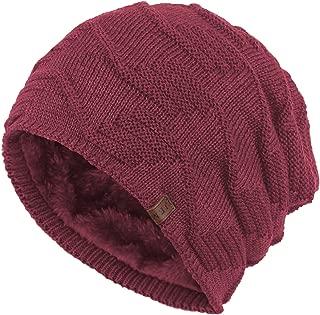 Janey&Rubbins Winter Baggy Oversize Solid Knit Beanie Hat Warm Villi Lined Skull Ski Cuff Stocking Cap