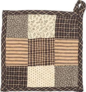 VHC Brands Primitive Tabletop Kitchen Prim Grove Fabric Loop Cotton Patchwork Pot Holder, One Size