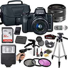 Canon EOS M50 Mirrorless Digital Camera (Black) with 15-45mm STM Lens + Deluxe Accessory Bundle Including Sandisk 32GB Card, Canon Case, Flash, Grip Multi Angle Tripod, 50