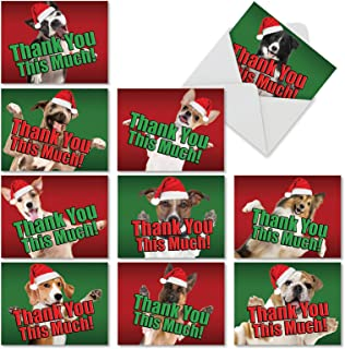 10 Adorable Christmas Dog Thank You This Much Note Cards with Envelopes (4 x 5.12 Inch) - Blank Holiday Animal Greeting Cards for Christmas, New Year, Winter M2369XTB-B1x10