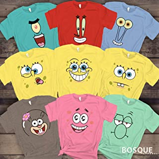 Spongebob&Friends Group Costume Halloween Family Squad Matching Cartoon Characters Tee Shirt   Long Tee Shirt   Hoodie   Sweatshirt   Tank-Top