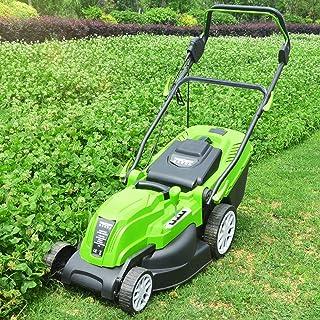 BKWJ Tondeuse à Gazon électrique avec poignée Pliable, déchaumeuse Haute Puissance 2200 W avec bac de ramassage d'herbe Am...