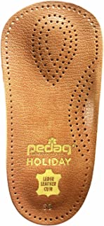 Pedag Holiday 2 Pair 34 Leather Orthotic Thin Semi-Rigid with Metatarsal Pad and Heel Cushion, Tan, 5.5 Ounce (US Women's 7, EU 37)