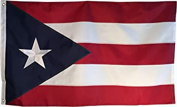 Puerto Rico Flag - 3x5 Foot Outdoor Nylon Banner with Embroidered Star and Double Stitched Sewn Stripes - Durable UV Fade ...