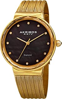 Akribos XXIV Women's Quartz Diamond Fine Mesh Bracelet Watch
