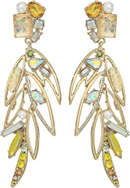 Yellow Bird Multi Stone Feather Earrings