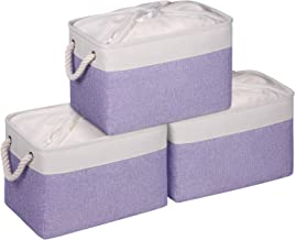 KEEGH Large Storage Baskets for Shelf,3-Pack Collapsible Fabric Storage Bins with Drawstring Cover & Handles, Closet Stora...