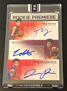 (ONLY 5 MADE) 2018/19 Panini Rookie Premiere Triple Autograph Basketball Card - TRAE YOUNG, COLLIN SEXTON and Jerome Robinson - Number 4 of 5! Encased and Sealed!