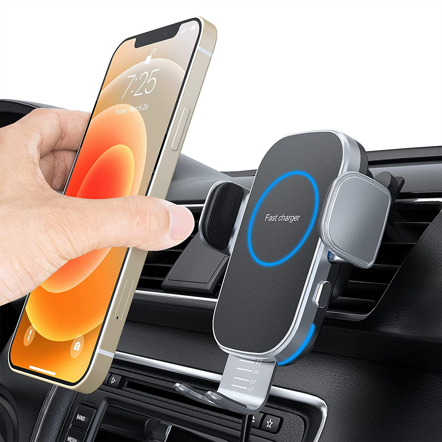 Car Wireless Charger, 15W Auto-Clamping Car Charger Mount, Air Vent Car Charging Holder for iPhone 12/12 Pro/ 11/11 Pro/Xr/Xs Max/Xs/X/8, Samsung S21/S20 /S10/S9/Note10/ Note9(with QC 3.0 Car Charger)