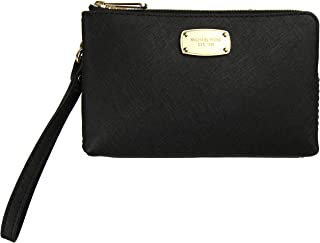 New Michael Kors Logo Wristlet Purse Genuine Leather Black Double Zip Around Bag