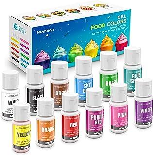 Nomeca 12 Colors Gel Food Coloring .70 Fl Oz Bottles Vibrant Icing Gel Colors Set, Tasteless Gel Food Coloring for Cake De...