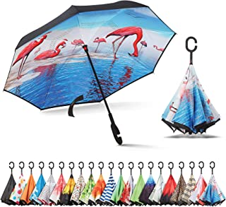 Inverted Umbrella, Umbrella Windproof, Reverse Umbrella, Umbrellas for Women with UV Protection, Upside Down Umbrella with C-Shaped Handle
