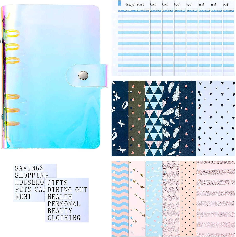 30 Pieces Cash Envelopes Set unisex Includes Notebook Bind Some reservation PVC Laser A6