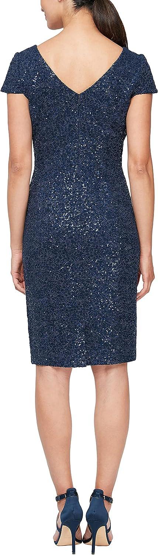 Alex Evenings Women's Short Shift Knee Length V Neck Dress (Petite & Regular)