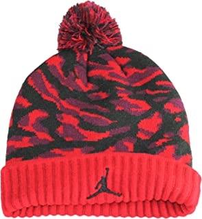 Boy's Jordan Jumpman Camo Pom Ski Cap Hat, Gym Red/Black, Size 8/20