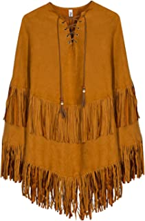 PERSUN Women Khaki Suedette Lace Up Front Tasseled Poncho Cape Coat, Brown, OneSize