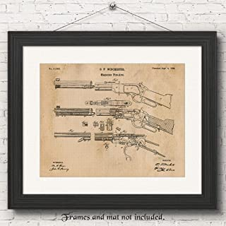 Original Winchester Lever Action Rifle Poster Gun Patent Print, Set of 1 (11x14) Unframed Photo, Great Wall Art Decor Gifts Under 15 for Home, Office, Man Cave, Shop, Cowboys, NRA Fan & Movies Fan