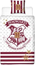 Harry Potter Ropa de Cama Reversible Escudo de Armas de Hogwarts 2 Piezas 80x80cm 135x200cm algodón Rojo Blanco