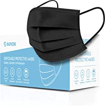 SUNCOO Face Mask, Pack of 50 (Black) - Disposable Masks Dust Particle 3-Layer Protective Mask Cover with Earloop