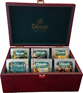 Dilmah | Luxury Wooden Tea Presenter | Tea Display Chest | 60 Enveloped Teabags Included | 6 Assorted Flavors | Gift of Te...