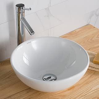 Kraus KCV-141 Ceramic Above counter Round Bathroom Sink, 16 x 16 x 6.24 inches, White