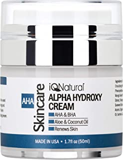 AHA BHA Moisturizer - Rich Alpha Hydroxy Acids Anti Aging & Anti Wrinkle with Glycolic Acid - Fragrance Free
